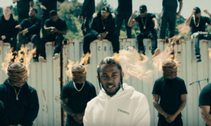 "A clip from Kendrick Lamar's music video for ""HUMBLE."" Photo courtesy: Ellie Gilchrist"