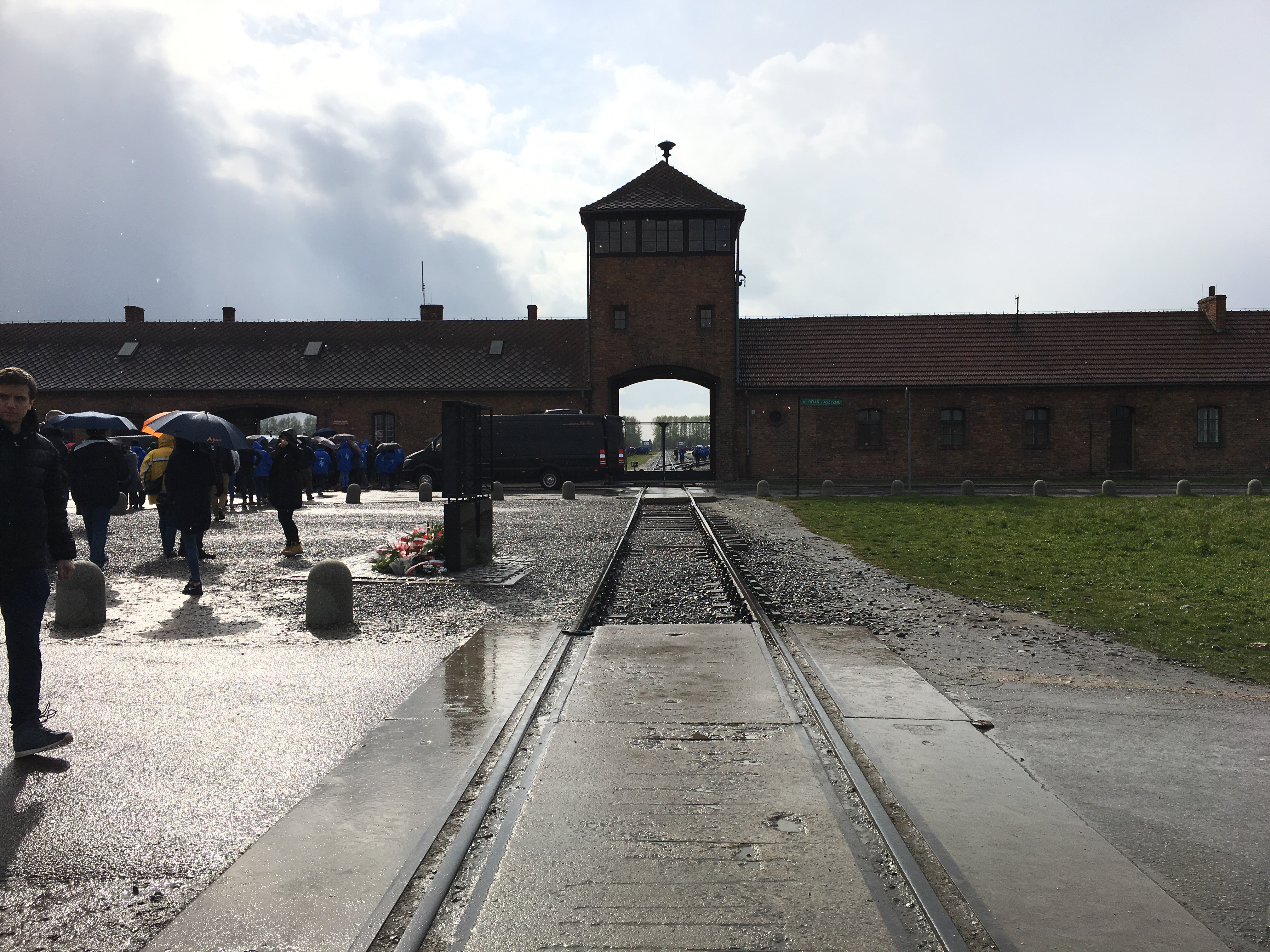 The infamous guard tower at Birkenau after the ceremony.