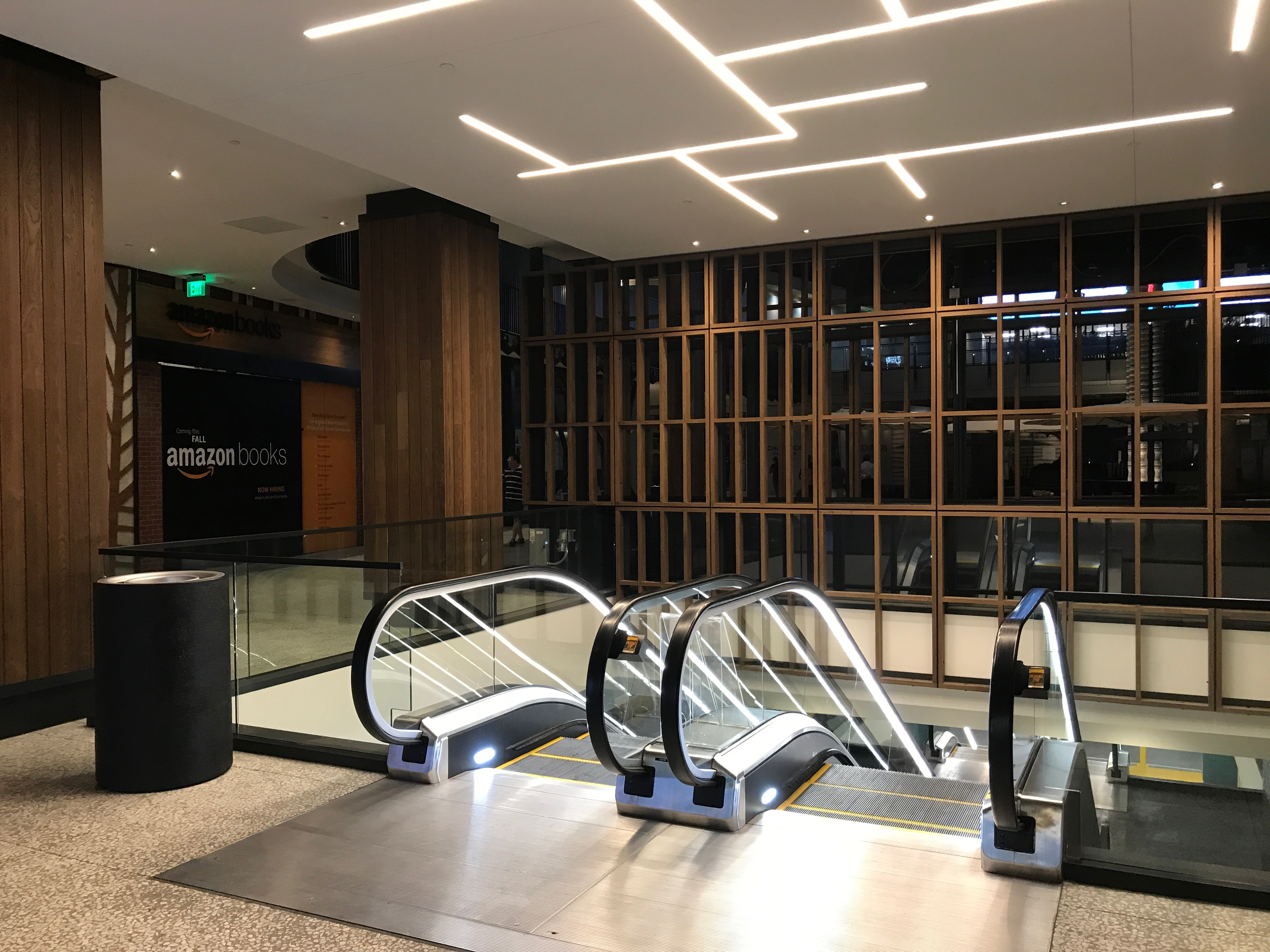 Amazon's new book store lies directly behind one of the many newly remodeled escalators.